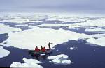 diver in Zodiak in drift ice