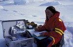 femal scientist in arctic