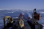 Forschungsschiff im antarktischen Eis
