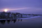 winter sun over river Kitinen