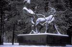 sami men with reindeer monument