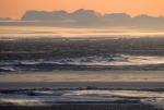 antarktische Küste am Abend