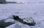 tank ship in pack ice