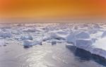 dusk in Antarctica drift ice
