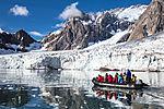tourists and glacier