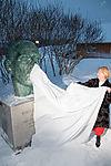 uncovering of Roald Amundsen bust in Tromso