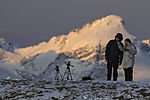 tourists in winter in northern Norway
