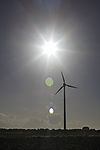 wind mill and sun