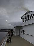 exhaust over ferry in Kiel