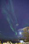 aurora with moon over Tromsö