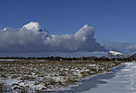 volcanoe like clouds over island Haaja