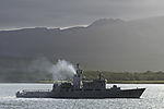 Abgaswolke über norwegischer Küstenwache