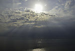 crepuscular rays over Great Belt