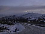 Moon over Dofjell in winter