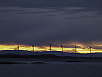 windpark at Tarvefjorden in dusk