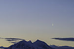 planet Venus and contrail over mount Bentsjordtinden