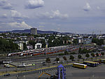 holding tracks with trains in Oslo at harbour