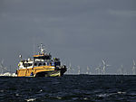 windpark and catamaran north of island Helgoland