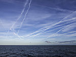 contrails over North Sea