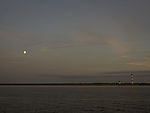 Moon over river Elbe
