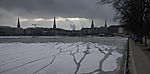 cracks in ice on lake Alster