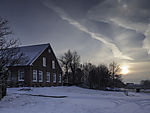 winter evening at farm house