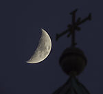 halv Moon over Bonifatius church in Hamburg