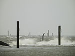 winter gale in port of Norddeich