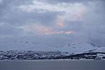 soft afterglow over island Kvalöya