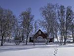 cabin in winter forest