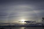 halo around sun over island Kvalöya