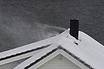 snow drift on house roof