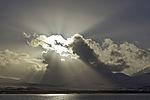 crepuscular rays over island Kvalöya