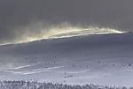 Schneetreiben auf Bergen in Nordnorwegen