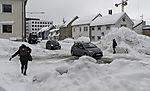 snowbound street in Tromso
