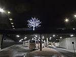 Busstationin Tromsö in Nacht