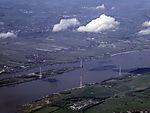 pylons neat Hetlingen at river Elbe