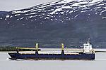 Frachter BBC Lagos bei Tromsö Abgase