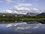 mount Tromsdalstinden reflection on lake Prestvannet