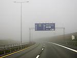 Nebel auf Autobahn bei Trondheim