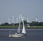 Windpark und Segelboot an der Elbe