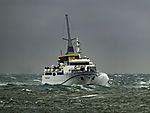ferry Helgoland in storm