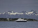 ferry Lödingen in Tysfjorden befor Lotot mountains