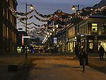 Xmastime in pedestrian road in Tromso