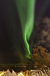 aurora flare over island Kvalöya