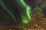 aurora fire over island Kvalöya