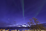 winter evening with planet Venus and aurora near Tromso