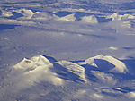 winter mountains in middle Norway from the air