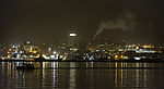 Segelboot vor Insel Tromsö in der Nacht