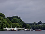 sightseeing boat at pier Rabenstraße on lake Alster